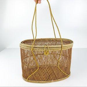 Vintage Straw Boho Basket Purse w/ Handles